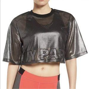 Ivy Park Metallic mesh logo crop top